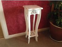 White and silver shabby chic side table
