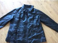 Black genuine leather jacket - size 20