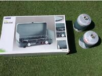 1 day old outwell Olida camping stove used once to boil a kettle plus 2 new gas cost £68 last week