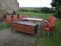 Danish Ansager Mobler design. REDUCED PRICE. Dining table. Sideboard. Six chairs.