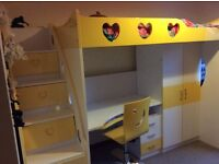Cute High Sleeper with desk, drawers and wardrobe.