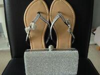 Diamanté clutch bag and flipflops