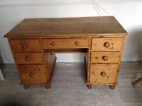 Pine desk with draws.