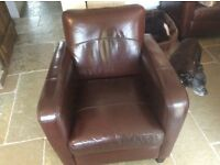 BEAUTIFUL RETRO LEATHER ARMCHAIR AND FOOTSTOOL also matching corner suite advertised. £240 ono