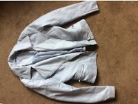 Pastel. Baby blue leather byker jacket hardly worn excellent condition