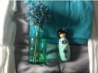 2 jade cushions,ornament,flower vase,& wall stickers