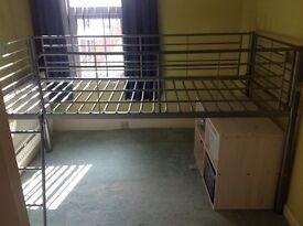 Grey Metal Mid Sleeper Single Bed