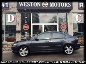 2006 Mazda MAZDA3 *SUNROOF *5 SPEED *CERTIFIED & E-TESTED