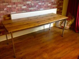 RUSTIC HANDMADE RECLAIMED WOOD TABLE - LEGS COME OFF TO TRANSPORT- COULD DELIVER