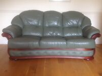 Excellent Green Leather Suite - Sofa and two chairs