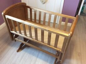Beautiful Gliding Crib in Antique Wood
