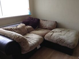 Settee- leather and fabric