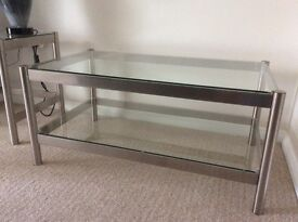 COFFEE TABLE GLASS AND CHROME