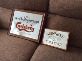 Vintage Carlsberg and Guiness wall mirrors