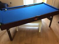 Pool table 6 by 3 foot and BCE custom cue