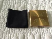 A Vintage Kigu of London Gold Compact Powder and Mirror with Holder