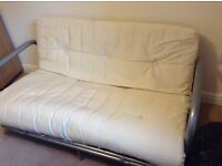 Metal frame Double Sofa/Futon Bed with cream fabric mattress