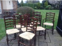 Antique rush seat dining chairs