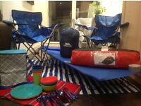 Camping tent, bag, chair, bed and more