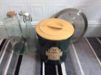 Stone bottle green bread bin three unused storage bottles and clock £5 the lot