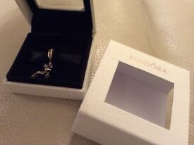 Genuine Pandora Reindeer Silver Charm in box duplicated gift is reason for selling.