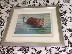 Tiger in the Lake print, limited signed edition, by Rolf Harris
