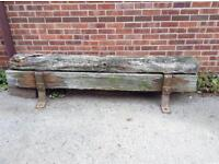Bench made from sleepers hulls old jetty.