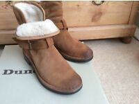 Brand new ladies Dune tan suede ankle boots, size 6