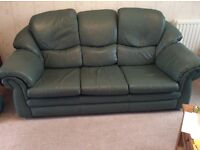 3 Seater Thomas Lloyd Superior Jade Green Leather Sofa. Very comfortable sofa.