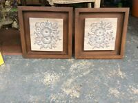 Pair of wooden wall tile art