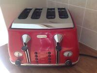 De Longhi Red 4 Drawer Toaster