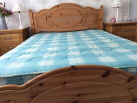 Lovely Double Pine Bed and Mattress
