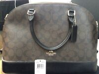 Genuine brown/black coach bag and coin/card holder