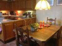 Satin ash wood dining table and 4 oak chairs