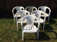 6 x Plastic Garden Patio Chairs