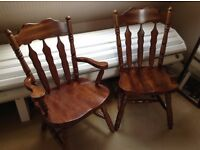 Solid aged Maple occasional chairs x 2. Built with craftsmanship - No screws.1 Carver, 1 other
