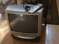 "Samsung 14"" screen TV with integrated VHS player/recorder"