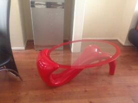 Glass table Red