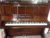 Bechstein upright overstrung piano and stool, 1904. Excellent condition.