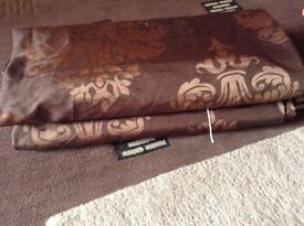 """next curtains brown print pencil pleat 66"""" x 72"""" used"""