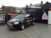 V W touran roof rack / bull bars /and wheels with tyres .