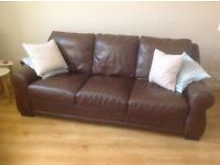 Free to good home - Three piece brown leather suite