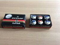 Vintage Dunlop 65 wrapped golf balls, boxed pack of 6. Christmas gift pack.