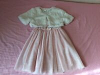 Girl tulle dress and faux fur gilet set , Aged 6-7 years