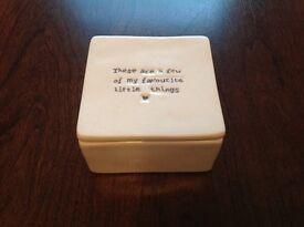 Trinket box. Cream ceramic. As new.