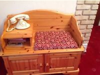 Telephone seat with shelf and two door cupboard
