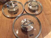 Set of 3 Fissler Stainless Steel Saucepans with glass cover lids