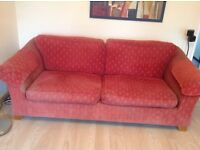 """Large 2 plus 3 sofas M&S """"Abbey"""" in chenille dark coral £95"""
