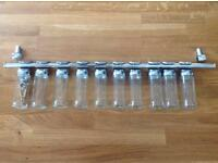 Chrome spice rack with 10 jars -excellent condition
