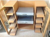 Pine CD cabinet, Wharfdale Diamond 8.4+ pine speakers, Cambridge amplifier and cd player